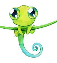 Chameleon Cute Childish Kawaii Eyes Watercolor Isolated
