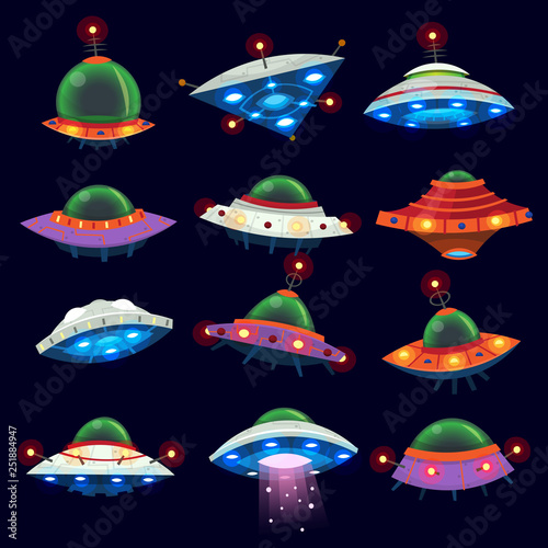 Set of colorful alien space ships in the sky. Isolated vector illustrations Wall mural