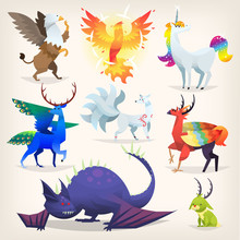 Set Of Colorful Mythological Fantasy Creatures From All Over The World. Isolated Vector Illustrations