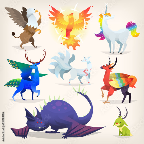 Leinwand Poster Set of colorful mythological fantasy creatures from all over the world