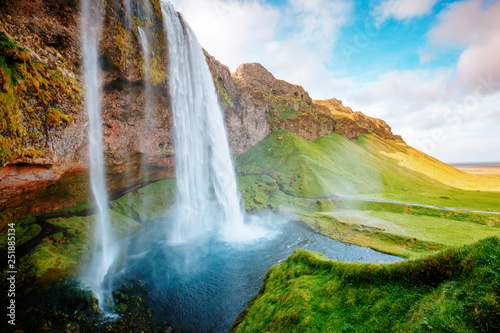 Fotografie, Obraz  Perfect view of famous powerful Seljalandsfoss waterfall in sunlight