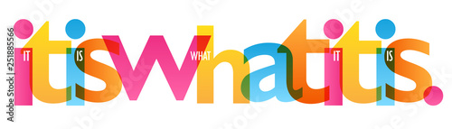 IT IS WHAT IT IS. colorful typography banner Wallpaper Mural