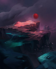 Fantasy World Scenery Concept Illustration