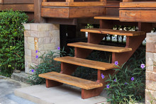 Exterior Wooden Stairs To House Entrance