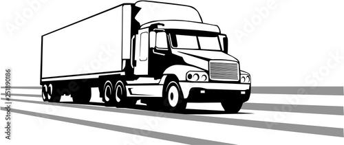 Photographie  Tractor Trailer Vector Illustration