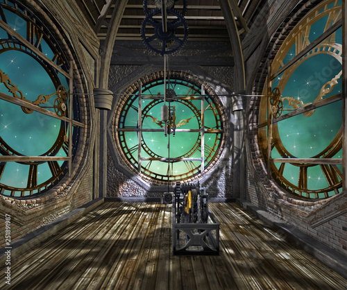 Stampa su Tela Clock tower interior in a steampunk style - 3D illustration