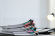 canvas print picture - Stack of documents with paper clips on office table. Space for text