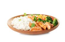 Plate With Tasty Rice, Vegetab...