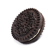 Tasty Chocolate Cookie With Cream On White Background