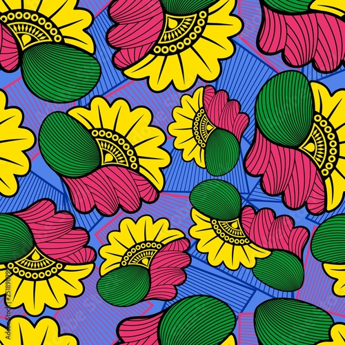 Tuinposter Draw Wax African Cloth Textile Fabric Seamless Pattern Vector Design