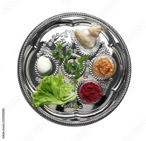 Cuadros en Lienzo  Traditional silver plate with symbolic meal for Passover (Pesach) Seder on white