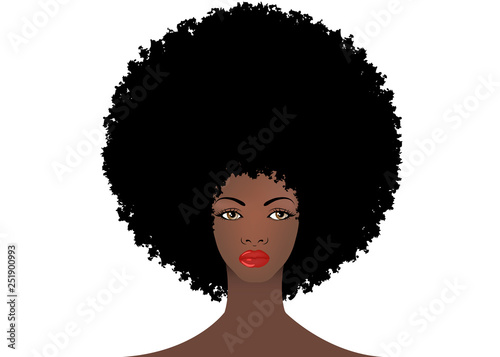 Curly Afro Hair Portrait African American Women Dark Skin