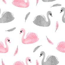 Seamless Beautiful Swan Patter...