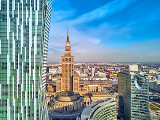 Obraz na SzkleWARSAW, POLAND - FEBRUARY 23, 2019: Beautiful panoramic aerial drone view to the center of Warsaw City and