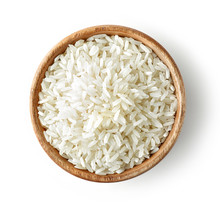 Wooden Bowl Of Raw Rice
