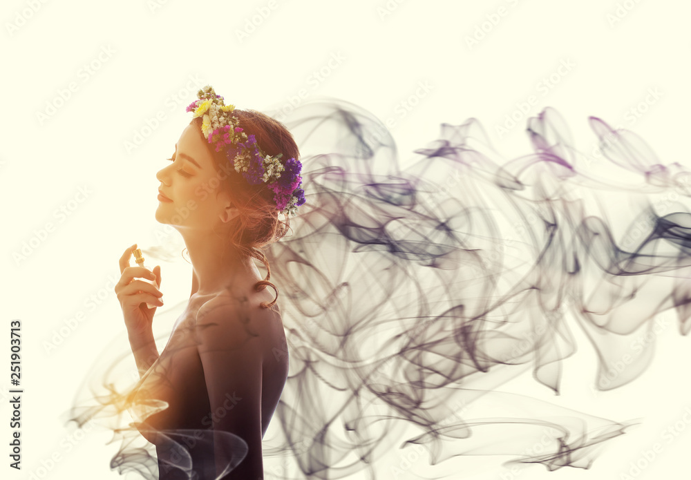 Fototapety, obrazy: Charming woman spray perfume on her body. She has sexual attraction.