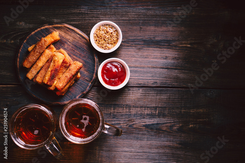 Canvas Print lager beer and snacks