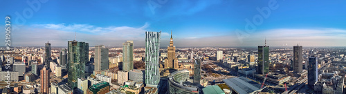"WARSAW, POLAND - FEBRUARY 23, 2019: Beautiful panoramic aerial drone view to the center of Warsaw City and ""Zlota 44"", residential skyscraper designed by American architect Daniel Libeskind"