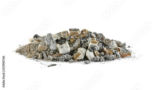 Fotografie, Obraz  A pile of cigarette end stubs, butts & ash on a white background