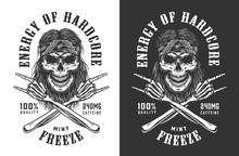 Vintage Monochrome Rockstar Skull Logotype