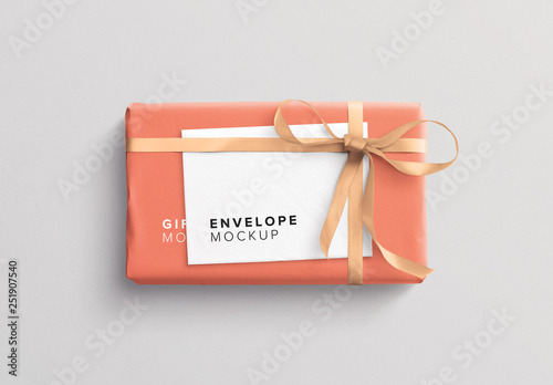 Wrapped Gift Box And Envelope Mockup Buy This Stock Template And Explore Similar Templates At Adobe Stock Adobe Stock