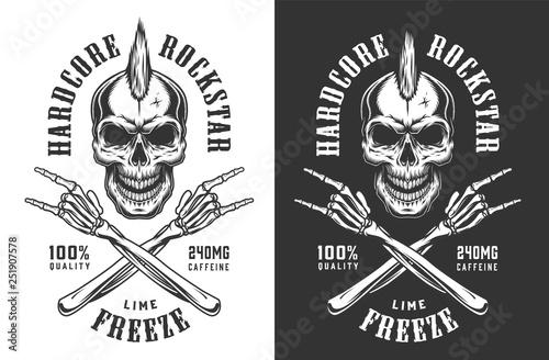 Fotografía Vintage monochrome rock and roll emblem