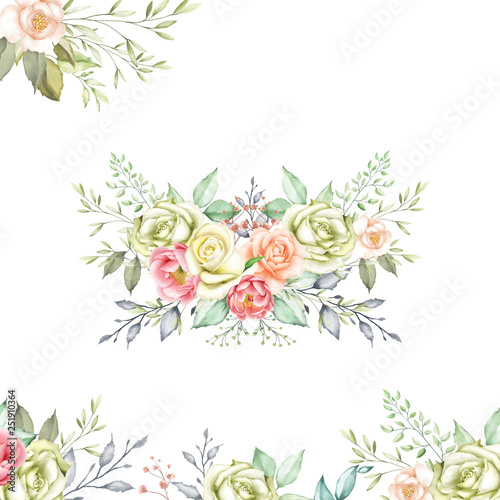 Fototapety, obrazy: watercolor floral and leaves wreath for wedding ornaments