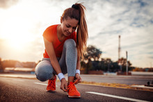 Woman Preaparing For Jogging