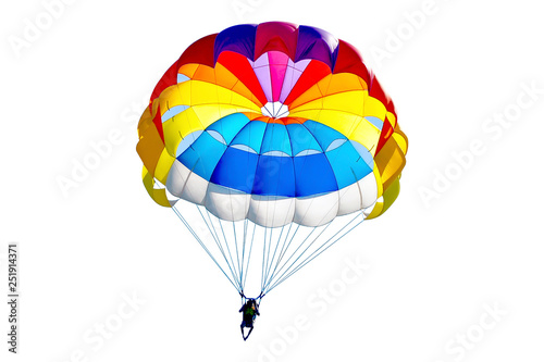 Stampa su Tela Bright colorful parachute on white background, isolated.