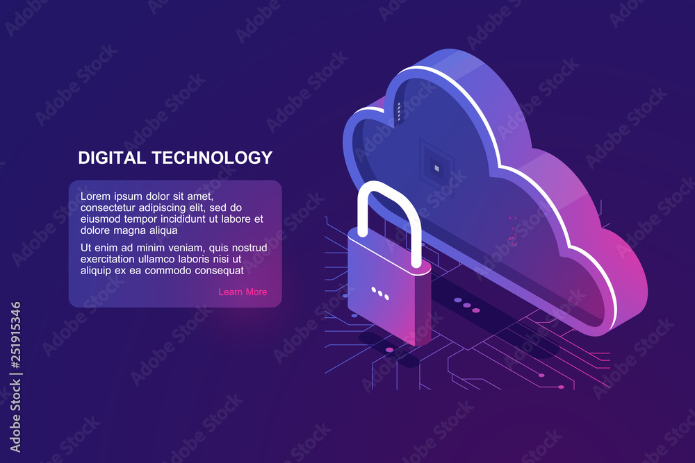Fototapeta Protected file on remote cloud storage, isometric cloud icon, saved internet provider, reliability document storage, backup download upload ultraviolet