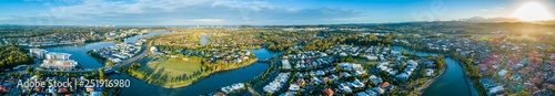 Wide aerial panorama of beautiful sunset over luxury suburb on the Gold Coast, Q Tapéta, Fotótapéta