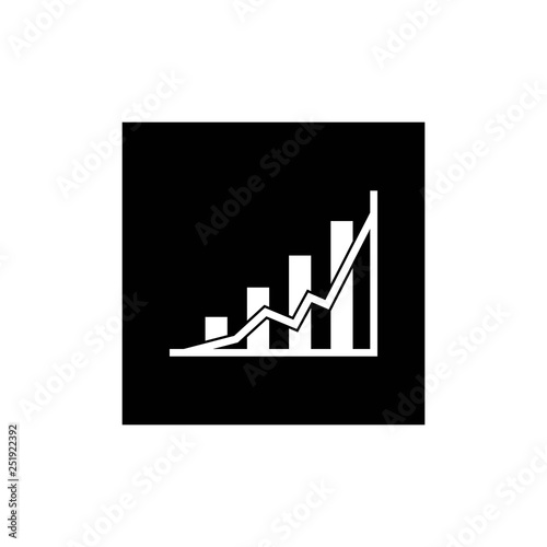 Growing graph icon on black square - vector illustration, EPS10. - vector Wall mural