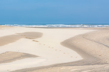 Sand Dunes On South Padre Island Lead The Eye To The Blue Sky And Gulf Of Mexico.