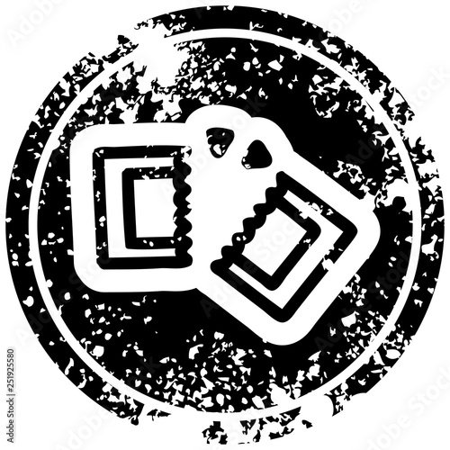 Fototapety, obrazy: movie ticket distressed icon