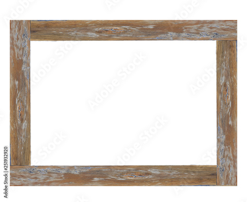 Wooden picture frame isolated on white background. with clipping path. Wall mural