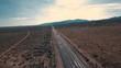 Above the road, aerial shot of the desert, 4k
