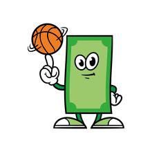 Cartoon Money Character Spinning A Basketball