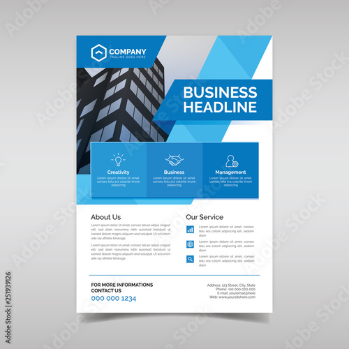 Fotografie, Obraz  Corporate business flyer template with blue geometric shapes