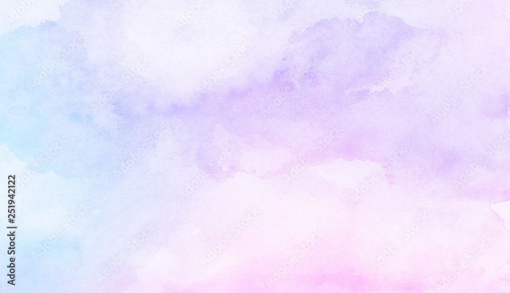 Fototapety, obrazy: Fantasy smooth light pink, purple shades and blue watercolor paper textured illustration for grunge design, vintage card, templates. Pastel ink colors wet effect hand drawn canvas aquarelle background