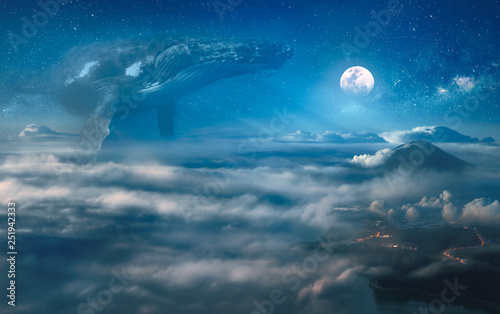 Nocturne surreal dream with clouds, big whale hovering in the space, night landscape under full moon on background