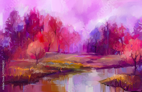 Printed kitchen splashbacks Purple Oil painting colorful autumn trees. Semi abstract image of forest, aspen trees with yellow - red leaf and lake. Autumn, Fall season nature background. Hand Painted Impressionist, outdoor landscape
