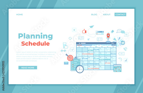 Photo  Planning Schedule Online web page interface planner, organizer, calendar, project plan with tasks and reminders