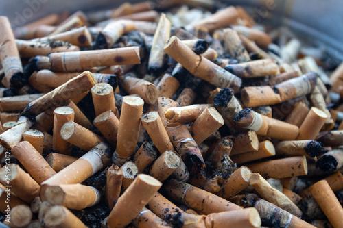 Fényképezés  Cigarette butts closeup. Many smoked cigarettes in the ashtray