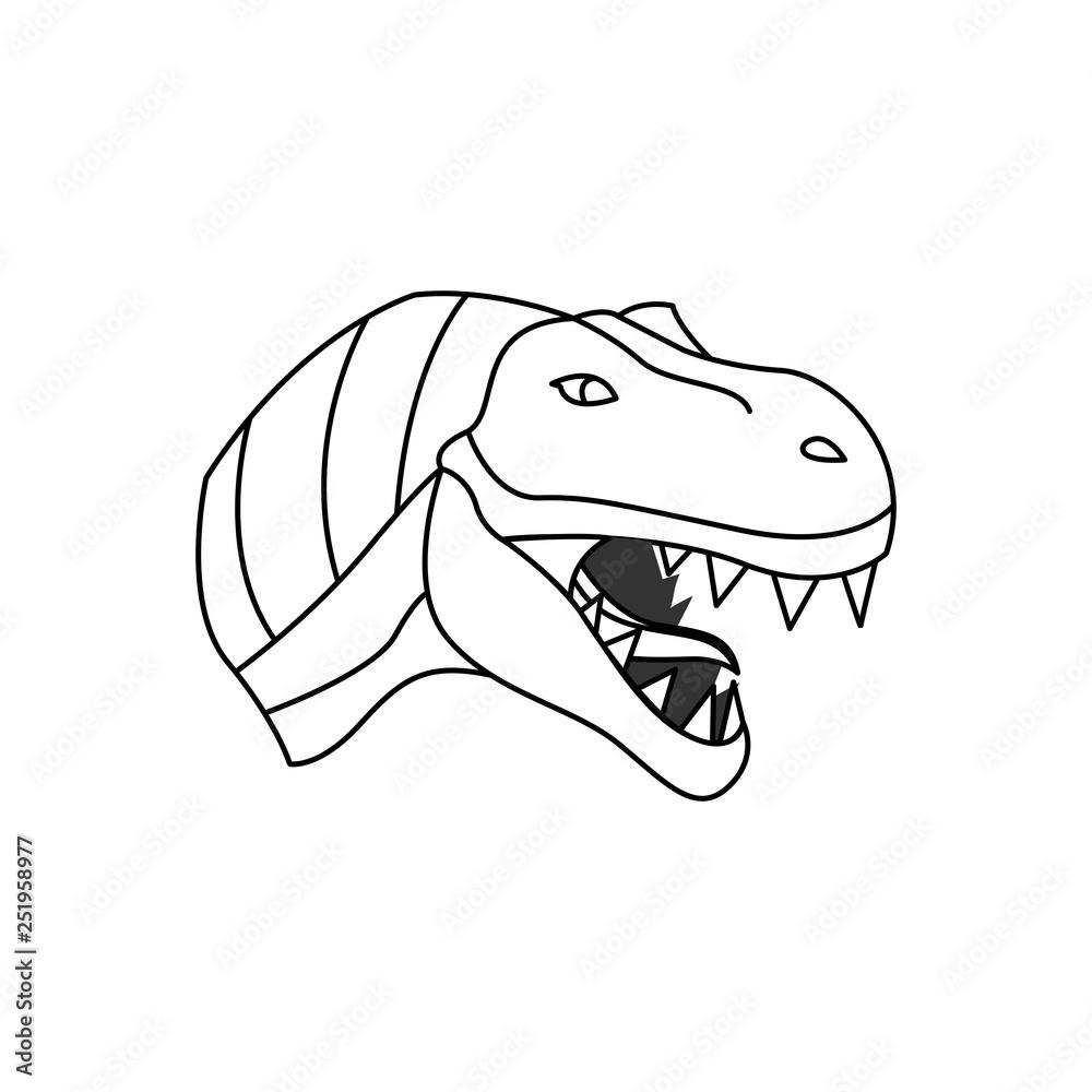 Dinosaur Outline Logo Design Concept Foto Poster Wandbilder Bei