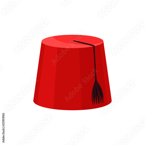 Red fez with black tassel Canvas Print