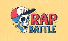 Rap Battle Logo With A Skull In A Baseball Cap