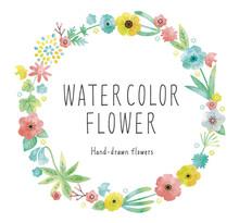 水彩の花フレームパステルカラー