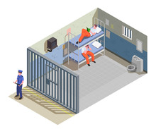 Prison Jail Isometric Composition