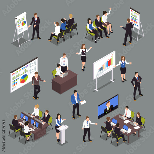Business Coaching Isometric Icons Set