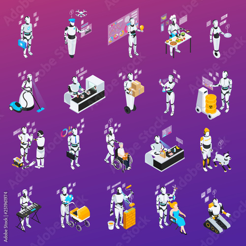 Robot Isolated Professions Icon Set